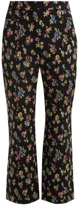 Erdem Valary floral-jacquard cropped trousers