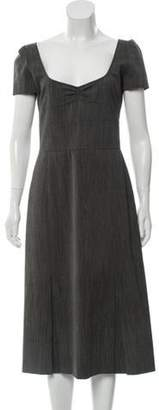 Miu Miu Short Sleeve Midi Dress Grey Short Sleeve Midi Dress