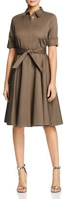 Badgley Mischka Poplin Fit-and-Flare Shirt Dress