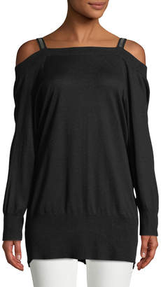 Halston Long-Sleeve Embellished-Strap Silk-Cashmere Tunic Sweater