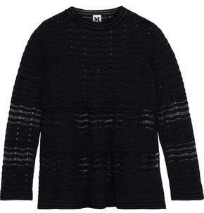 Metallic Crochet-Knit Sweater