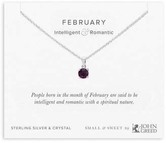 John Greed Small & Sweet Silver & Crystal February Birthstone Necklace