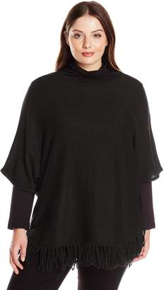 NY Collection Women's Plus-Size Elbow Dolman Sleeve Solid Wide Crew Neck Rounded Bottom Fringed Pullover