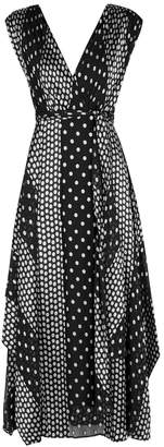Diane von Furstenberg Black Spot-devore Silk-blend Midi Dress