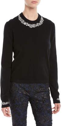 Michael Kors Crystal-Embellished Crewneck Cashmere-Blend Sweater