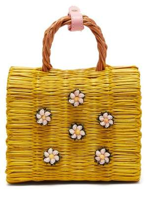 Heimat Atlantica - Margarita Mini Woven Basket Bag - Womens - Yellow Multi
