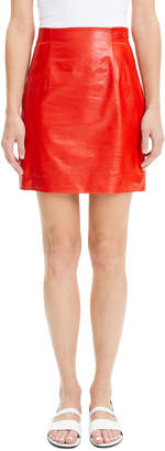 Theory Varnished Lambskin Leather Mini Skirt