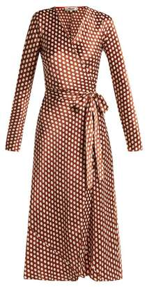 Diane von Furstenberg Baker Polka Dot Wrap Around Silk Dress - Womens - Brown White