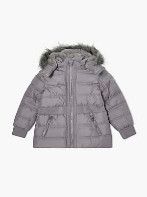 John Lewis & Partners Girls' Padded Short Coat, Silver