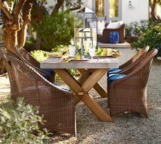 Pottery Barn Abbott Zinc Top Rectangular Fixed Dining Table & Palmetto Chair Set