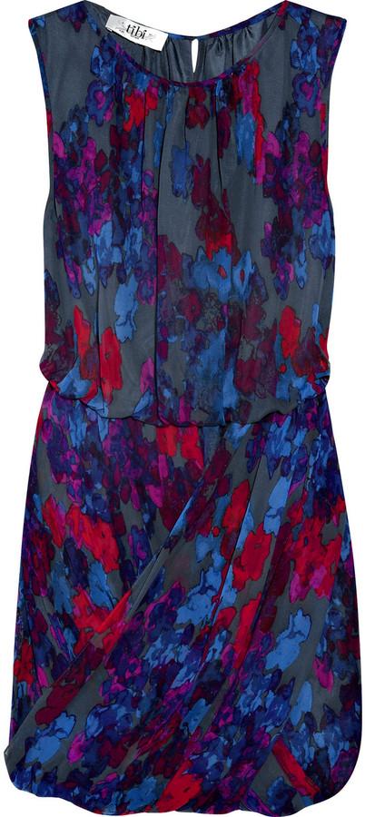 Tibi Printed silk-chiffon dress
