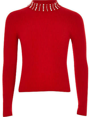 River Island Girls Red pearl embellished high neck top