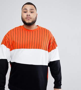 Asos DESIGN plus oversized sweatshirt with color block stripes