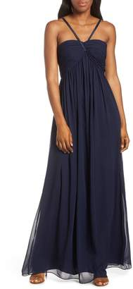 Eliza J Halter Neck Shirred Chiffon Gown