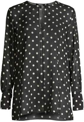 Theory Polka Dot Silk Fluid Tunic