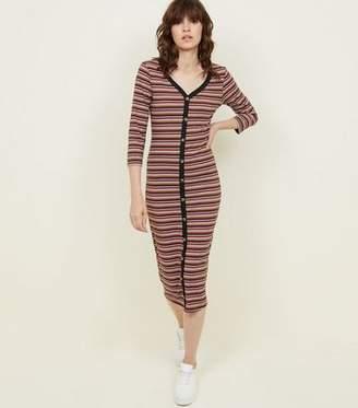 New Look Brown Stripe Button Through 3/4 Sleeve Midi Dress