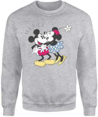 Disney Mickey Mouse Minnie Kiss Sweatshirt - Grey