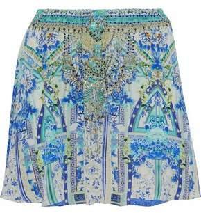 Camilla Porcelain Paradise Embellished Floral-Print Silk Mini Skirt