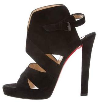 Christian Louboutin Suede Ankle Strap Sandals
