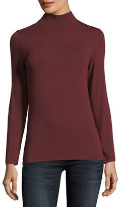 Neiman Marcus Majestic Paris for Soft Touch Mock Turtleneck Top