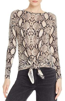 Olivaceous Snake-Print Tie-Front Sweater