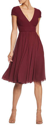 Dress the Population Corey V-Neck Fit-&-Flare Dress