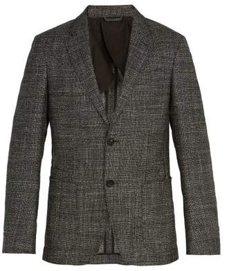 Ermenegildo Zegna Single Breasted Checked Wool Blend Blazer - Mens - Grey