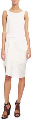 Atlein Sleeveless Draped Open-Weave Dress, White