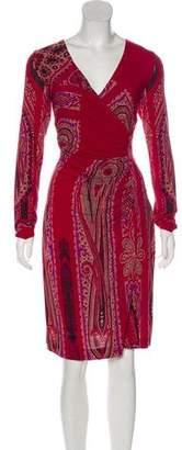 Etro Printed V-Neck Knee-Length Dress