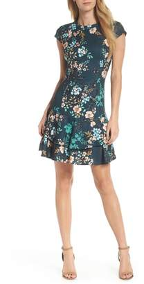 Eliza J Floral Print Cap Sleeve Fit & Flare Dress