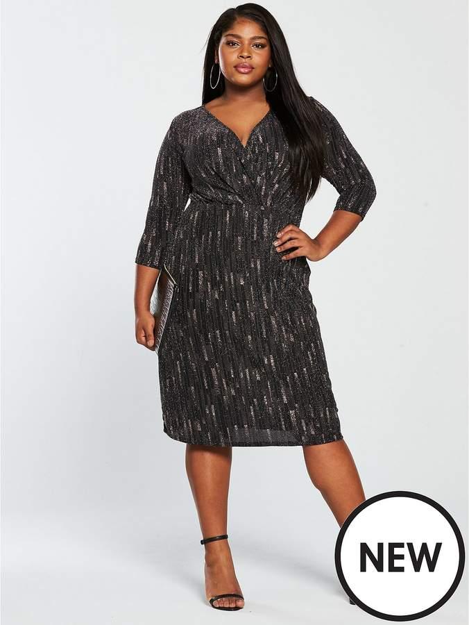 Curve Lurex With Glitter Pattern Wrap Dress - Black