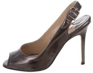 Manolo Blahnik Patent Leather Slingback Sandals