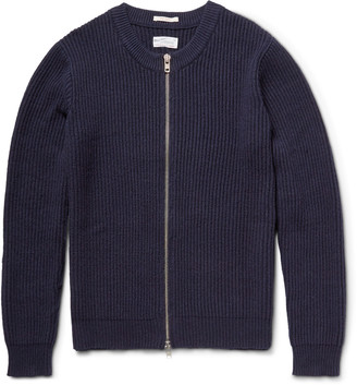 Gant Rugger The Zipper Ribbed Cotton-Blend Cardigan $195 thestylecure.com