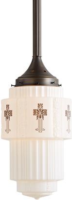 Rejuvenation Large Fluted Art Deco Pendant w/ Stenciled Shade