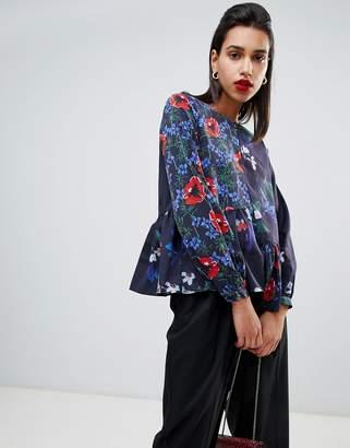French Connection Lisette Patchwork Floral Print Asymmetric Blouse