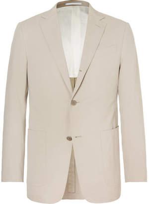 Ermenegildo Zegna Beige Slim-Fit Stretch Cotton And Cashmere-Blend Suit Jacket