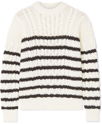 Loewe Striped Cable-knit Wool Sweater - Ivory