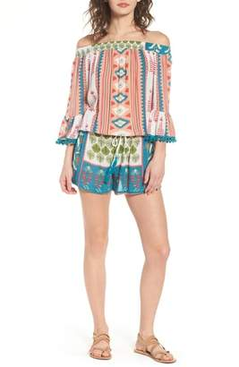 Raga Albuquerque Nights Pom Off the Shoulder Romper