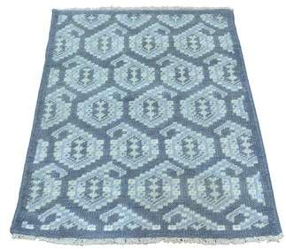 Bungalow Rose One-of-a-Kind Dessie Paisley Knot Hand-Knotted Blue Area Rug