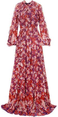 Giambattista Valli Ruffled Floral-print Silk-georgette Gown - Violet