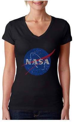 La Pop Art Women Word Art V-Neck T-Shirt - Nasa Most Notable Missions