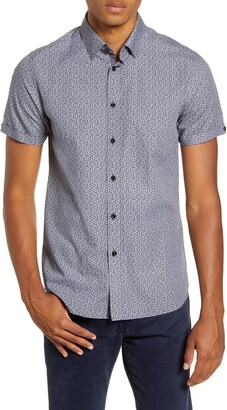 Ted Baker Daffodil Slim Fit Leaf Print Button-Up Short Sleeve Sport Shirt