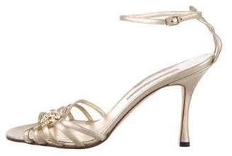 Manolo Blahnik Leather Metallic Sandals