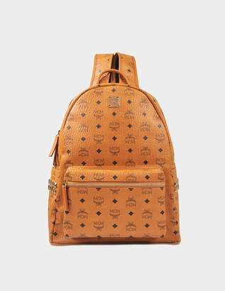 MCM Stark Side Studs Medium Backpack in Cognac Bonded Visetos