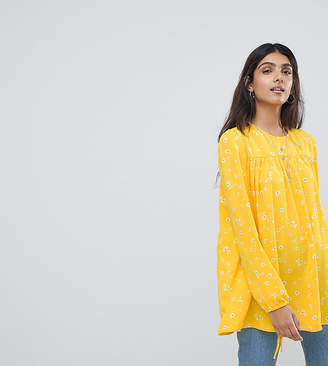 Glamorous Tall Relaxed Smock Top With Tie Cuffs In Ditsy Floral