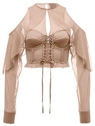 Fenty Puma by Rihanna Mesh Bustier Top w/Chiffon Sleeves, Beige $250 thestylecure.com