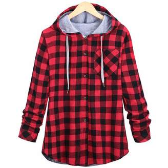 Muranba Coat Muramba Clearance Plus Size Women's Plaid Hooded Cardigan Blouse Coat