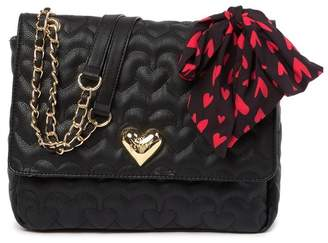 87168b17316 Betsey Johnson Quilted Heart Shoulder Bag with Scarf