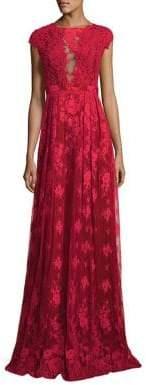 ML Monique Lhuillier Open-Back Lace Gown