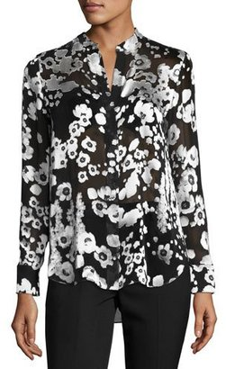 Alice + Olivia Belle Metallic Floral Mandarin-Collar Shirt, Black/Silver $330 thestylecure.com